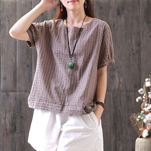 fashion cotton tops oversized Retro Lacing Cotton Linen Short Sleeve Pullover T Shirt