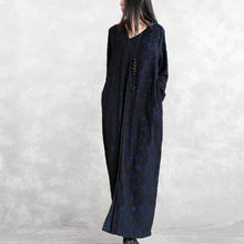 Load image into Gallery viewer, fashion dark blue Jacquard cotton blended dresses plus size V neck asymmetric linen clothing dress casual long sleeve baggy dresses