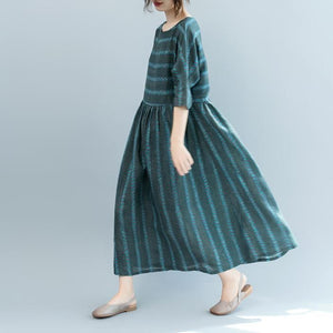 fashion dull green striped natural linen dress oversized o neck baggy dresses linen clothing dress boutique short sleeve pockets gown