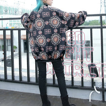Load image into Gallery viewer, fashion floral tops plus size Stand t shirt 2018 zippered baggy clothing tops