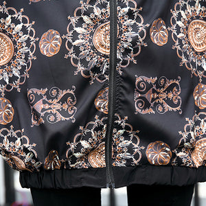 fashion floral tops plus size Stand t shirt 2018 zippered baggy clothing tops