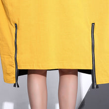 Load image into Gallery viewer, fashion gray Midi-length cotton dress plus size clothing autumn dress zippered baggy vintage O neck cotton dresses