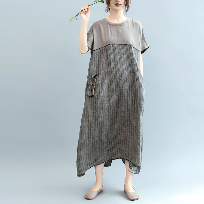 fashion gray natural linen dress oversize o neck patchwork linen clothing dresses women short sleeve baggy dresses
