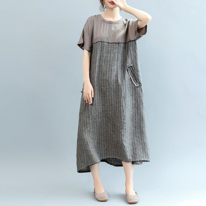 703213cba76 fashion gray natural linen dress oversize o neck patchwork linen clothing  dresses women short sleeve baggy ...