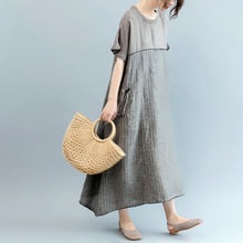 Load image into Gallery viewer, fashion gray natural linen dress oversize o neck patchwork linen clothing dresses women short sleeve baggy dresses