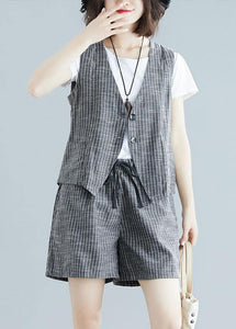 fashion gray striped two pieces women sleeveless tops and casual shorts