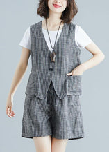 Load image into Gallery viewer, fashion gray striped two pieces women sleeveless tops and casual shorts