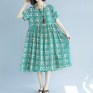 fashion green Midi linen dresses trendy plus size holiday dresses Fine short sleeve floral o neck dresses