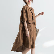 Load image into Gallery viewer, fashion khaki cotton dresses plus size cotton dress women half sleeve Stand cotton dress