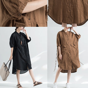 fashion khaki cotton dresses plus size cotton dress women half sleeve Stand cotton dress