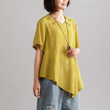 Load image into Gallery viewer, fashion linen blended blouse oversize Irregular Hem Women Summer Short Sleeve Casual Loose Yellow Blouse