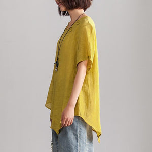 fashion linen blended blouse oversize Irregular Hem Women Summer Short Sleeve Casual Loose Yellow Blouse