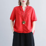 fashion linen blouse oversize Retro Short Sleeve Embroidery High-low Hem Red Tops