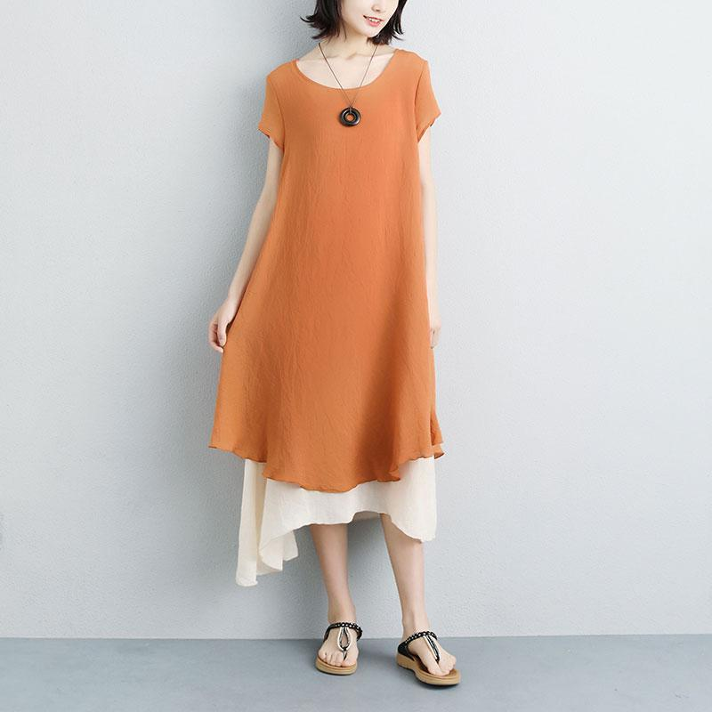 fashion linen sundress plus size False Two-piece Short Sleeve Orange Plain Dress