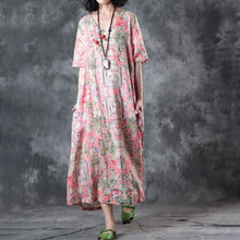 Load image into Gallery viewer, fashion linen sundress trendy plus size Retro V Neck Short Sleeve Printed Flax Pullover Dress