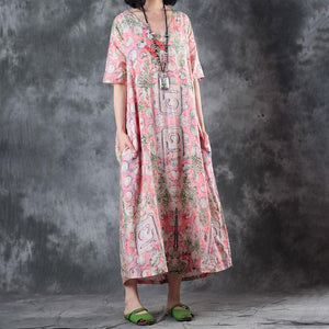 fashion linen sundress trendy plus size Retro V Neck Short Sleeve Printed Flax Pullover Dress
