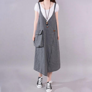 fashion long cotton blended dress Loose fitting Casual Summer Stripe Big Pocket Loose Suspender Gray Dress