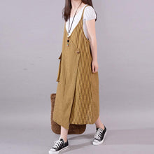 Load image into Gallery viewer, fashion long cotton blended dress Loose fitting Casual Summer Stripe Big Pocket Loose Suspender Gray Dress