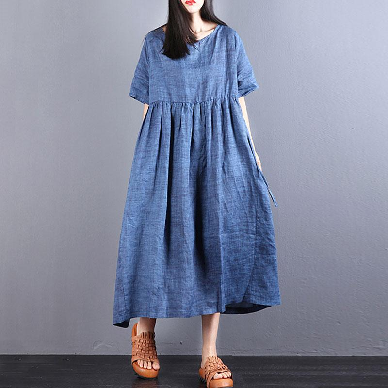 fashion long linen dresses oversize Loose Lacing Ramie Short Sleeve Blue Pleated Dress