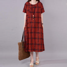 Load image into Gallery viewer, fashion natural cotton dress plus size Lattice Round Neck Short Sleeve Red Cotton Dress