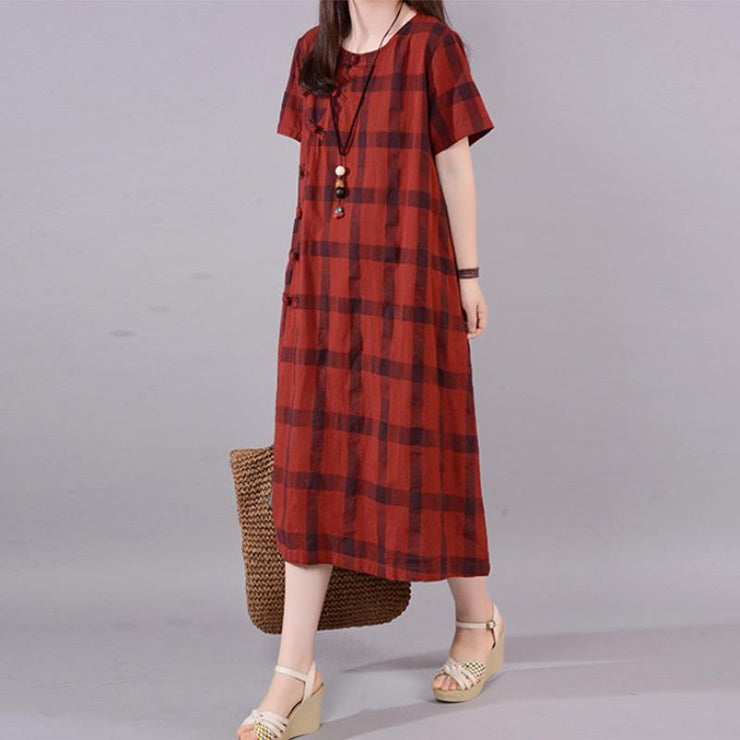 fashion natural cotton dress plus size Lattice Round Neck Short Sleeve Red Cotton Dress
