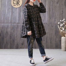 Load image into Gallery viewer, fashion natural cotton linen t shirt plus size Loose Polo Collar Plaid Shirt Single Breasted Black Top