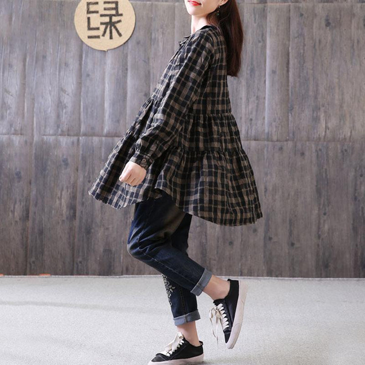 fashion natural cotton linen t shirt plus size Loose Polo Collar Plaid Shirt Single Breasted Black Top