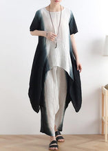 Load image into Gallery viewer, fashion new black o neck patchwork tops +elastic waist wide leg pants two pieces