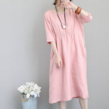Load image into Gallery viewer, fashion pink natural linen dress plus size clothing tunic caftans 2018 bracelet sleeved kaftans