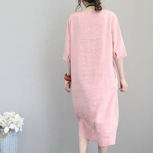 fashion pink natural linen dress plus size clothing tunic caftans 2018 bracelet sleeved kaftans
