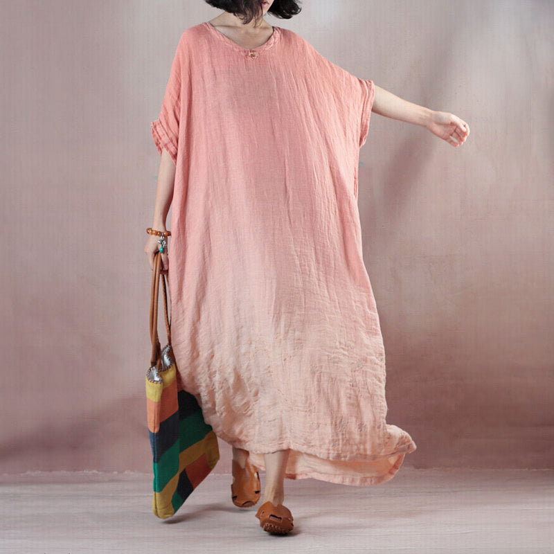 fashion pink orange linen dresses Loose fitting v neck baggy dresses linen dress 2018 half sleeve maxi dresses