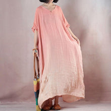 Load image into Gallery viewer, fashion pink orange linen dresses Loose fitting v neck baggy dresses linen dress 2018 half sleeve maxi dresses