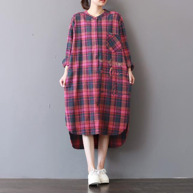 fashion plaid prints cotton caftans Loose fitting cotton clothing shirt dress New low high design kaftans