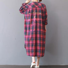 Load image into Gallery viewer, fashion plaid prints cotton caftans Loose fitting cotton clothing shirt dress New low high design kaftans