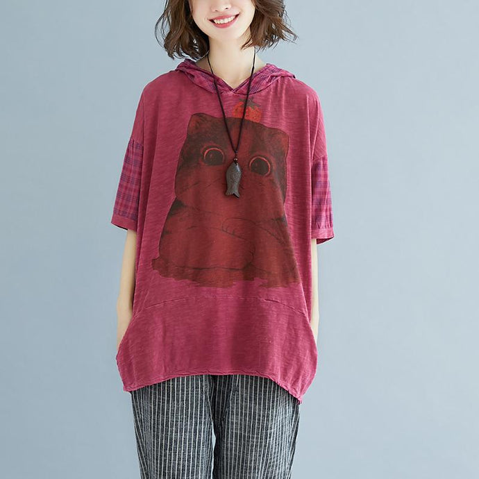 fashion pure linen blouse oversize Plaid Summer Short Sleeve High-low Hem Purple Hooded Blouse