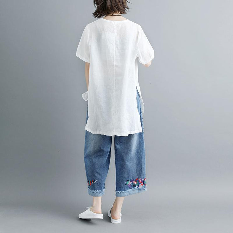 fashion pure linen blouse plus size Casual Summer Short Sleeve Slit Round Neck White Tops