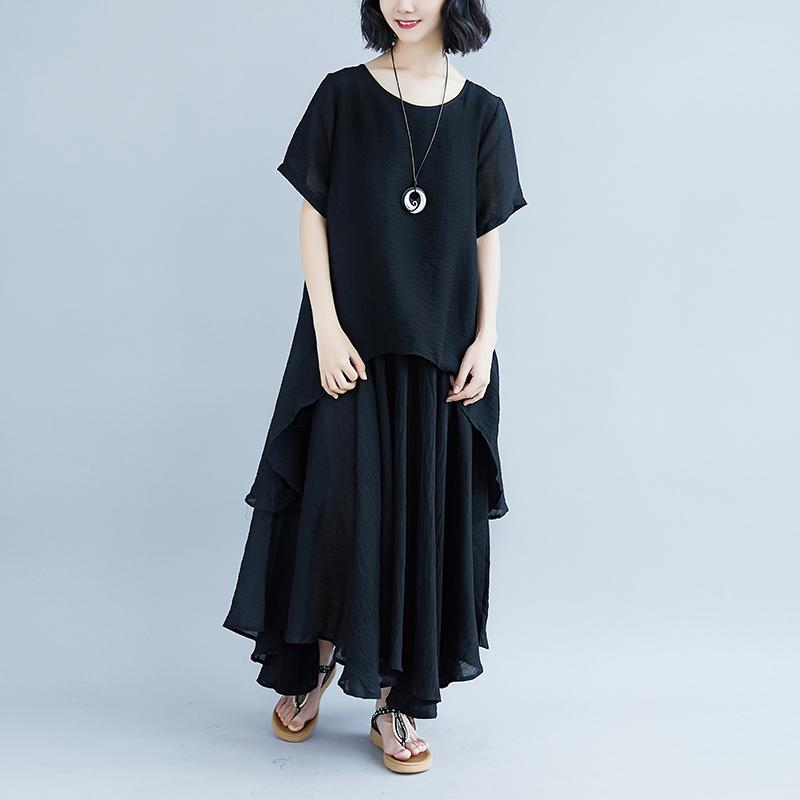 fashion pure linen tops oversized Casual Short Sleeve Black Pockets Fake Two-piece Dress