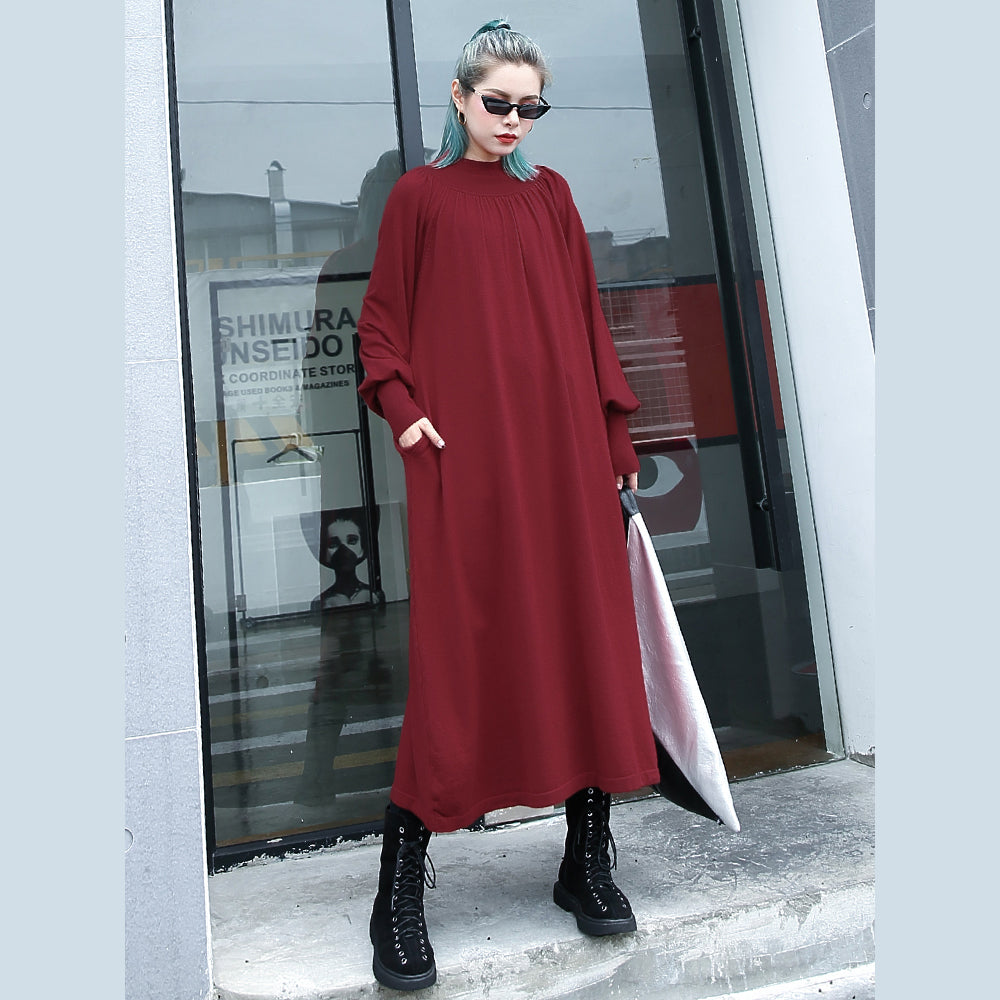 fashion red autumn plus size clothing stand collar traveling dress boutique pockets baggy dresses