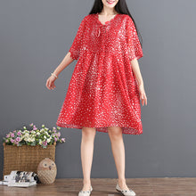 Load image into Gallery viewer, fashion red chiffon sundress V neck half sleeve party dress dotted baggy dresses drawstring summer dress