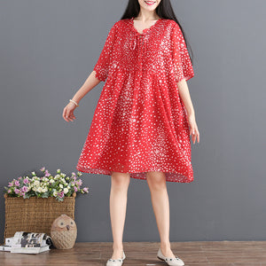 fashion red chiffon sundress V neck half sleeve party dress dotted baggy dresses drawstring summer dress