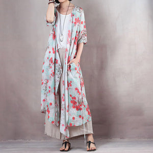 fashion red floral linen caftans casual v neck linen maxi dress Fine half sleeve tie waist caftans