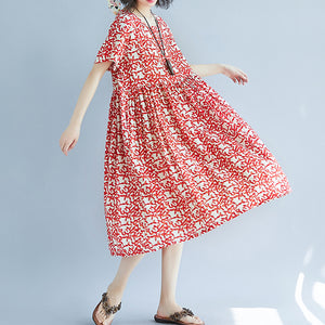 fashion red linen knee dress oversized casual dress fine short sleeve floral o neck dresses