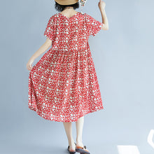 Load image into Gallery viewer, fashion red linen knee dress oversized casual dress fine short sleeve floral o neck dresses