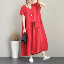 Load image into Gallery viewer, fashion red long linen dress Loose fitting v neck linen clothing dress women two big pockets maxi dresses
