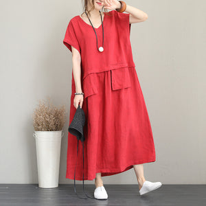 fashion red long linen dress Loose fitting v neck linen clothing dress women two big pockets maxi dresses