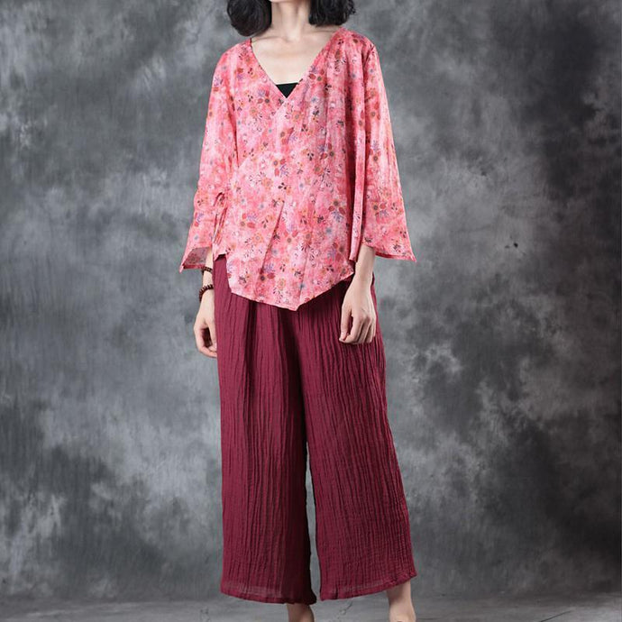 fashion red print linen t shirt plus size clothing linen clothing blouses New half sleeve v neck tie waist linen clothing tops