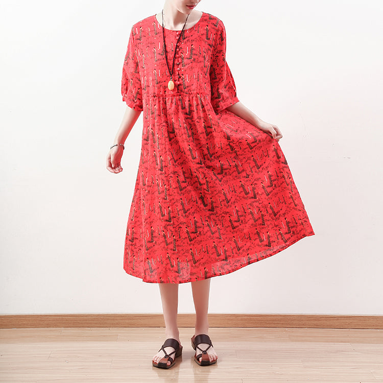 fashion red prints long linen dress casual half sleeve linen clothing dresses women o neck kaftans