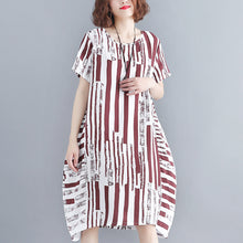 Load image into Gallery viewer, fashion red pure cotton blended dress plus size holiday dresses women short sleeve Geometric O neck asymmetric cotton blended clothing