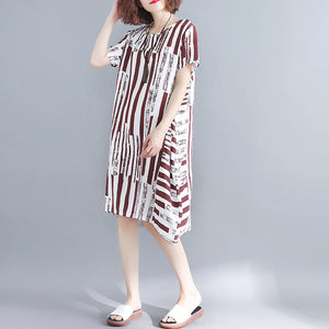 fashion red pure cotton blended dress plus size holiday dresses women short sleeve Geometric O neck asymmetric cotton blended clothing
