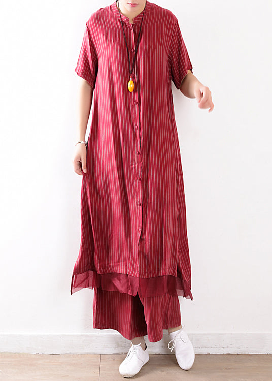 fashion red striped casual silk shirt dress and elastic waist wide leg pants two pieces